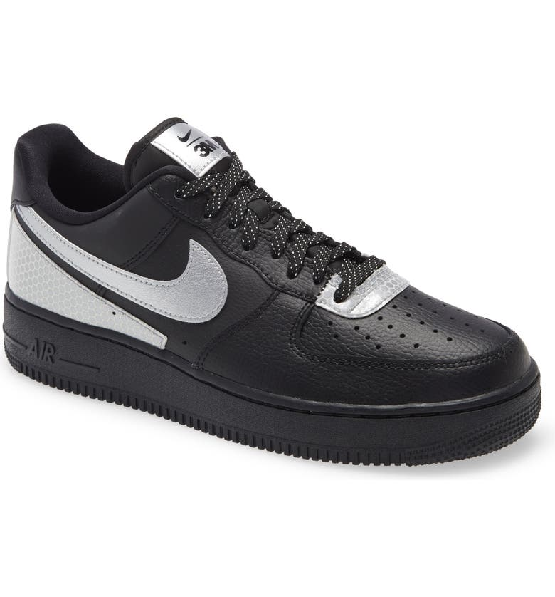 NIKE x 3M Men's Air Force 1 '07 LV8 Sneaker, Main, color, BLACK/ METALLIC SILVER/ BLACK