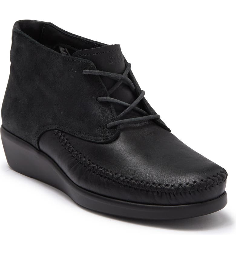 SAS Kich Wedge Lace Up Boot, Main, color, LICORICE LTHER