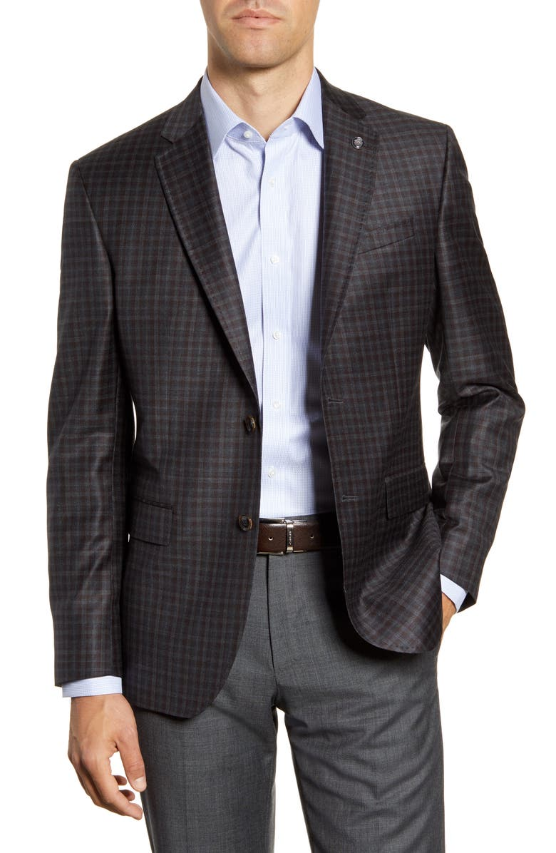TED BAKER LONDON Jay Trim Fit Check Wool Sport Coat, Main, color, 020