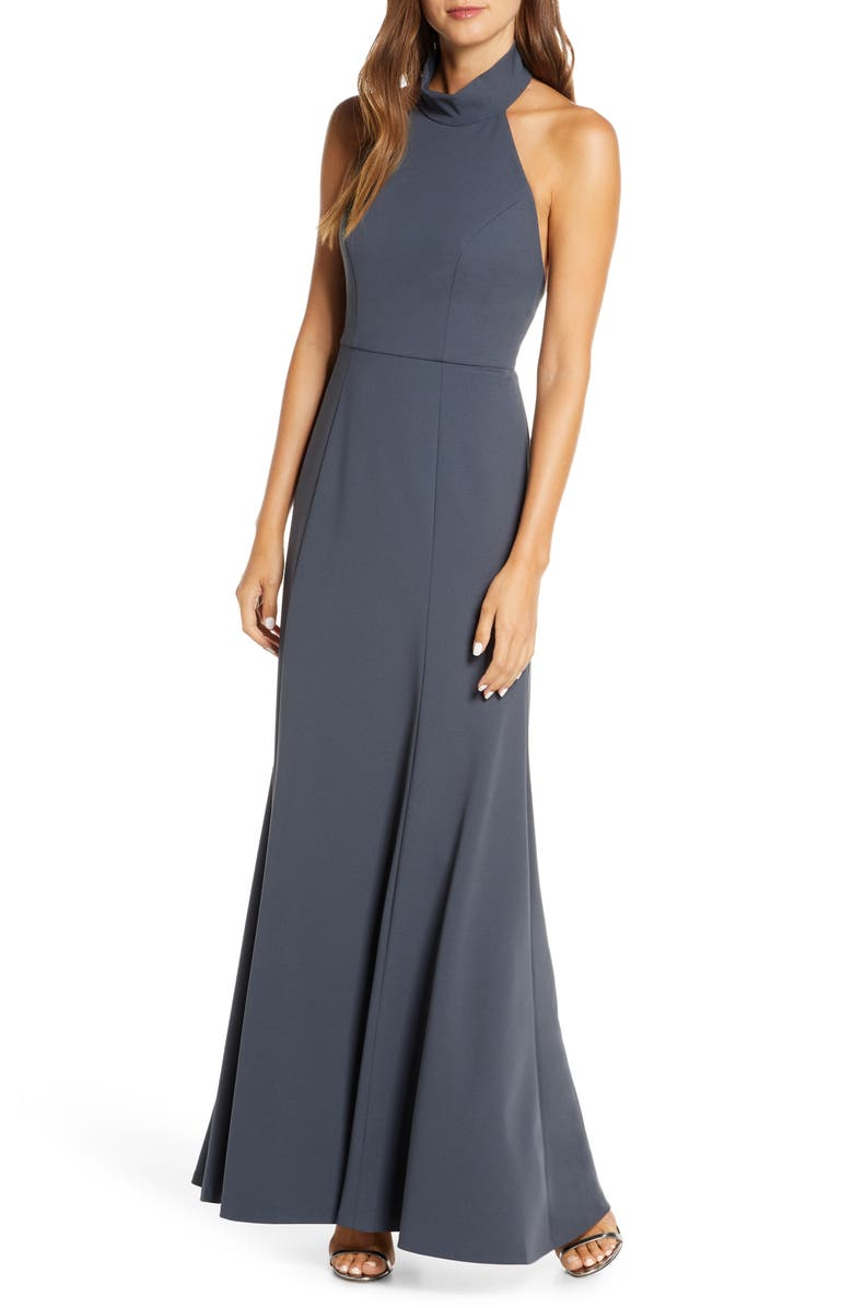 JENNY YOO Petra Halter Crepe A-Line Gown, Main, color, 026