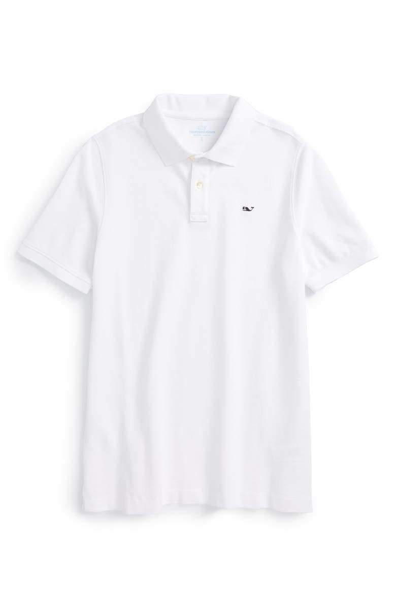 VINEYARD VINES Classic Piqué Cotton Polo, Main, color, WHITE CAP