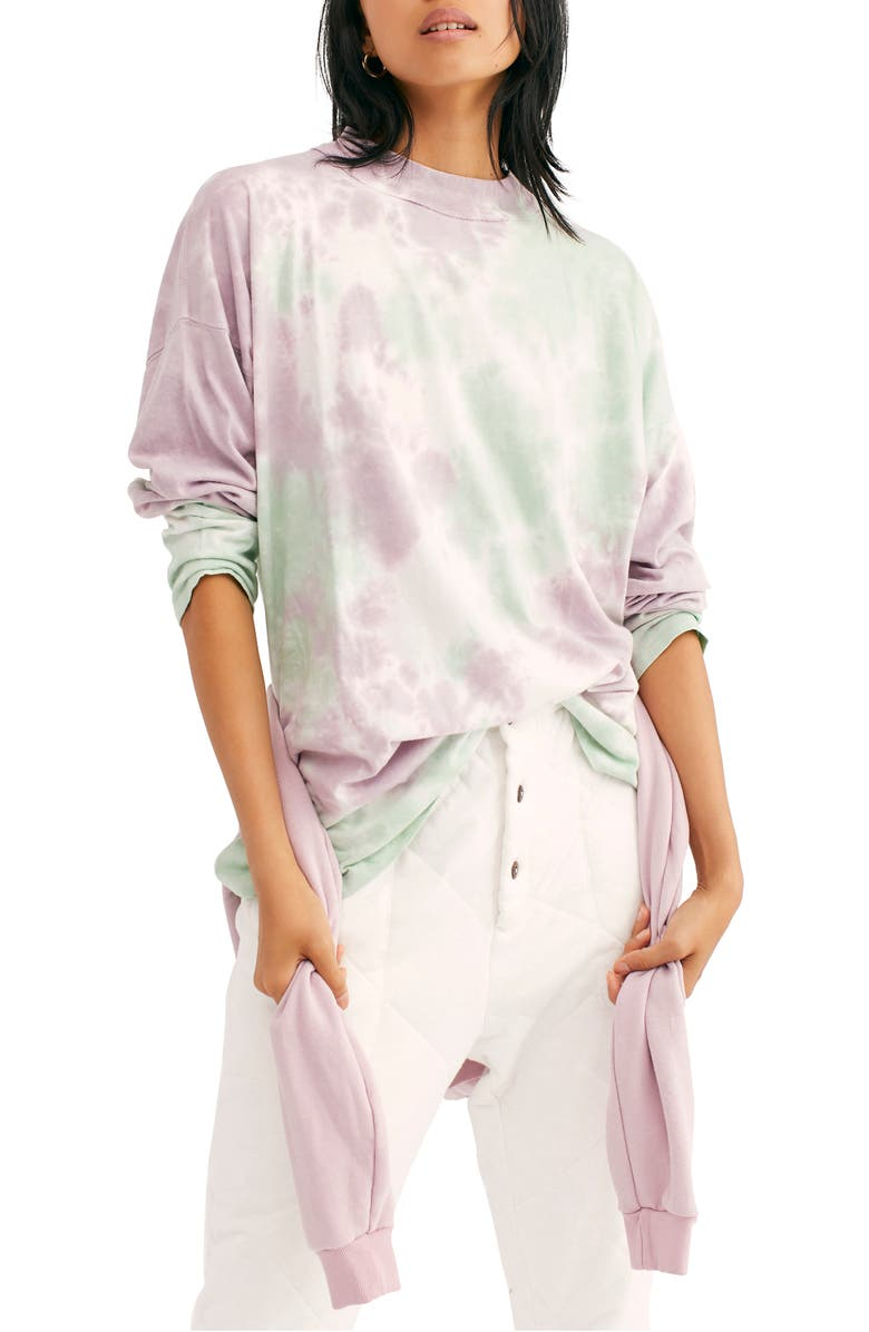 FREE PEOPLE Be Free Tie Dye Oversize Long Sleeve T-Shirt, Main, color, LAVENDER MINT