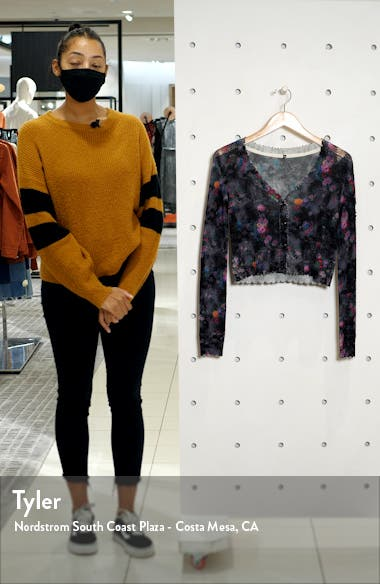 Floral Distressed Crop Cashmere Cardigan, sales video thumbnail
