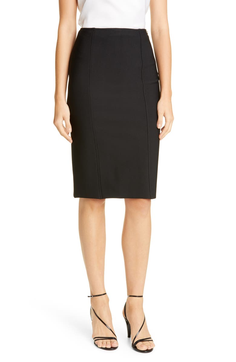 ST. JOHN COLLECTION Sculpted Milano Knit Pencil Skirt, Main, color, 001