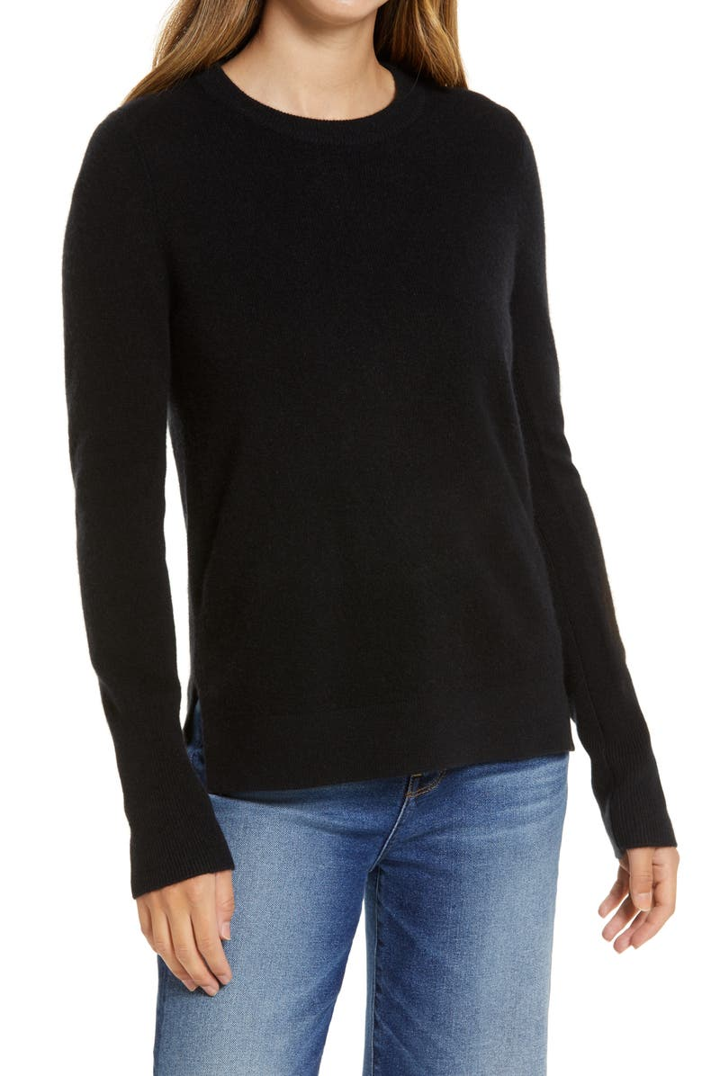 HALOGEN<SUP>®</SUP> Crewneck Cashmere Sweater, Main, color, BLACK