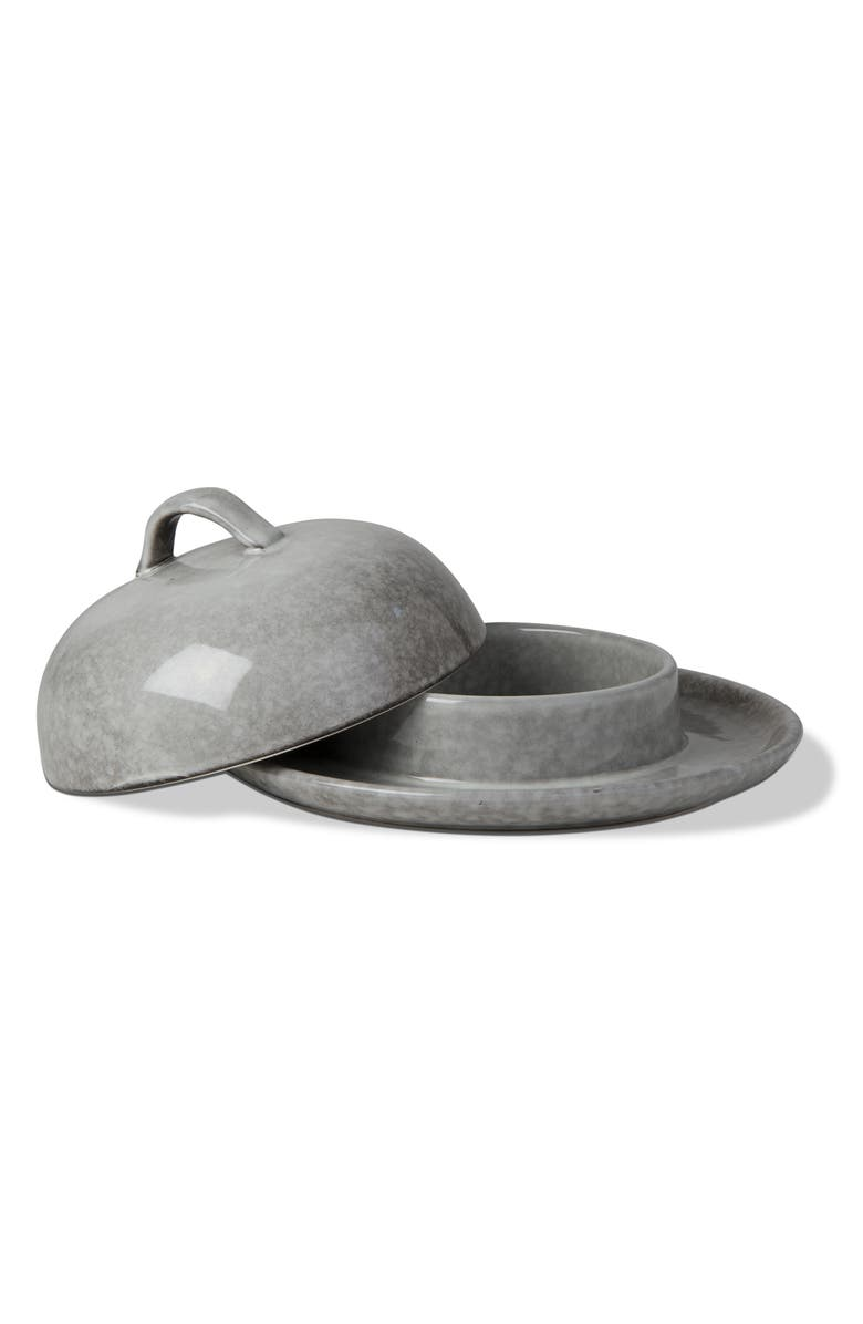 TAG Stinson Stoneware Brie Baker with Lid, Main, color, LIGHT GRAY