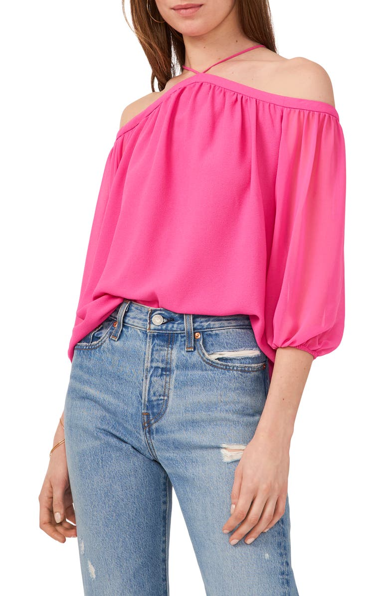 1.STATE Off the Shoulder Sheer Chiffon Blouse, Main, color, BRIGHT MULBERRY