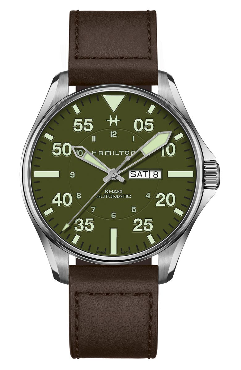 HAMILTON Khaki Aviation Pilot Schott Automatic Leather Strap Watch, 46mm, Main, color, BROWN/ GREEN/ SILVER