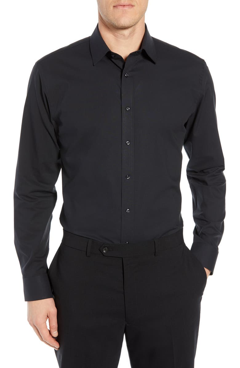 NORDSTROM Men's Shop Tech-Smart Trim Fit Stretch Pinpoint Dress Shirt, Main, color, 001