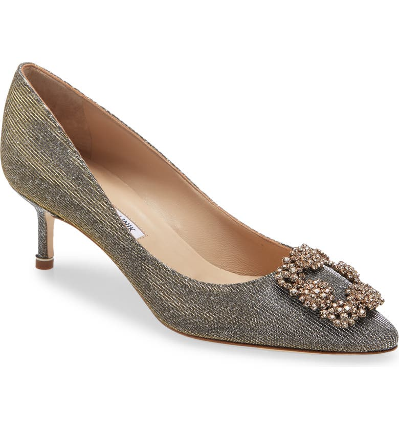 MANOLO BLAHNIK Hangisi Crystal Embellished Pointed Toe Pump, Main, color, METALLIC