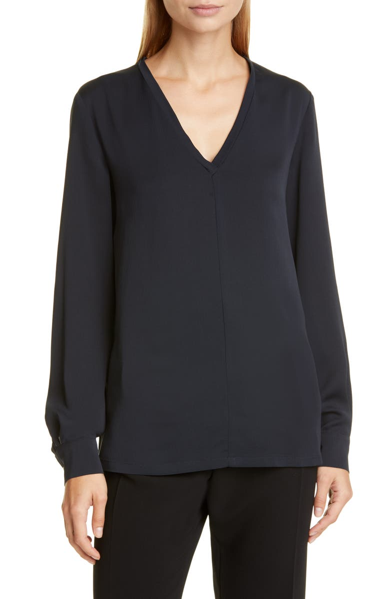 MAX MARA Terra V-Neck Silk Top, Main, color, 411