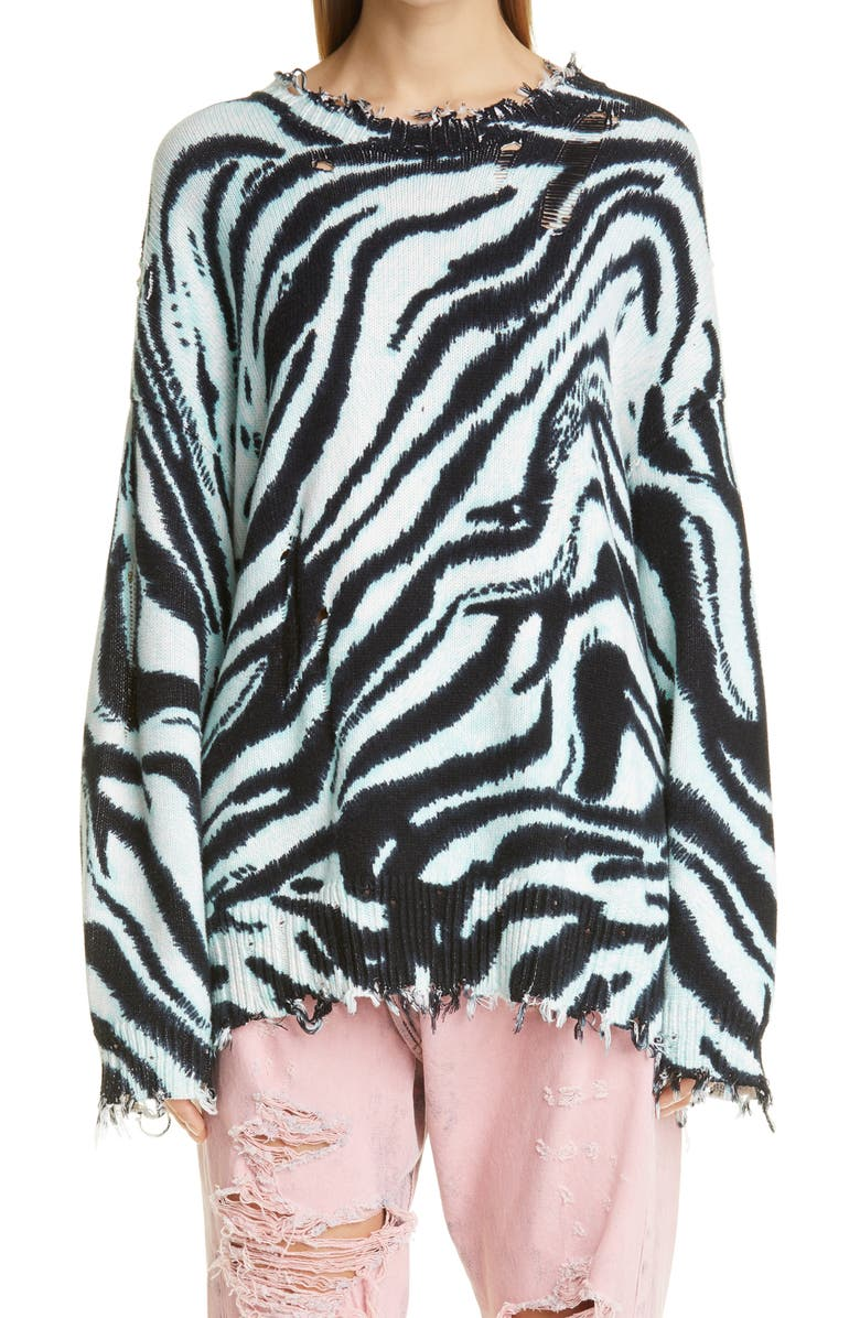 R13 Zebra Print Distressed Oversize Cotton Sweater, Main, color, BLUE ZEBRA