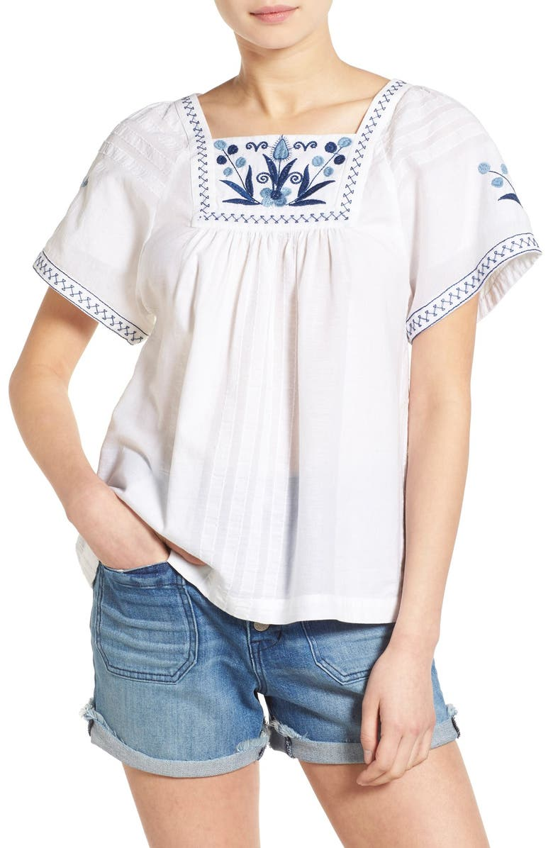 MADEWELL Embroidered Short Sleeve Peasant Top, Main, color, 100