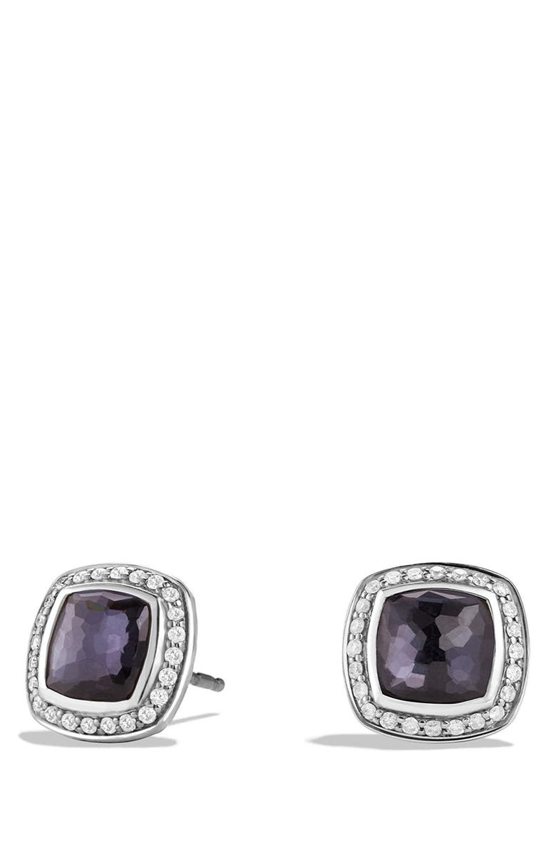 DAVID YURMAN Albion Earrings with Semiprecious Stone and Diamonds, Main, color, AMETHYST/ HEMATINE