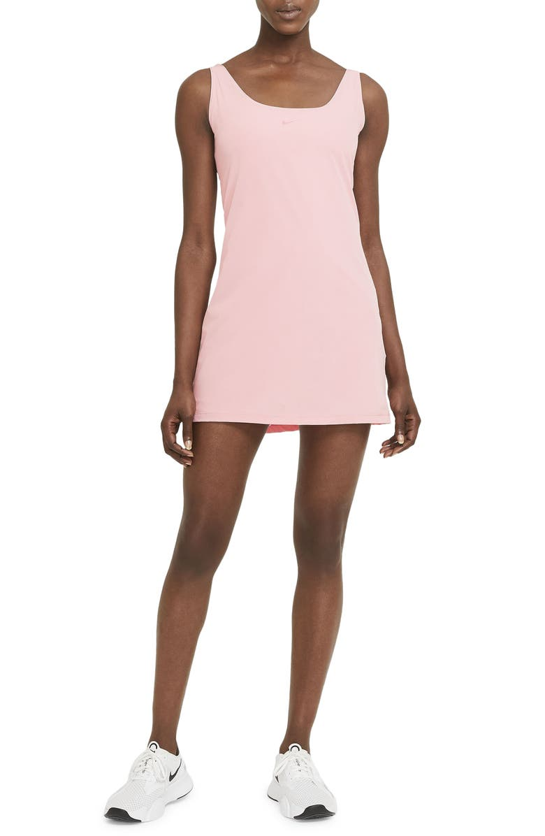NIKE Bliss Luxe Training Dress, Main, color, PINK GLAZE/ CLEAR