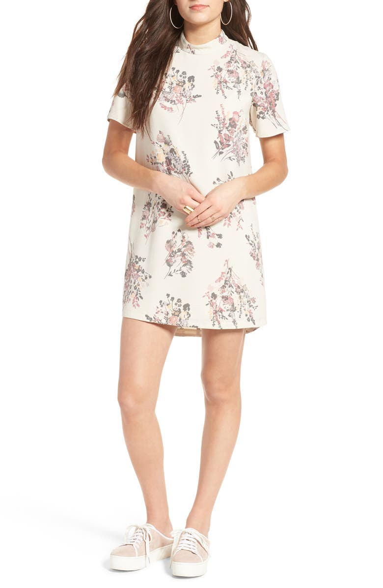 LEITH Floral Print Shift Dress, Main, color, 270