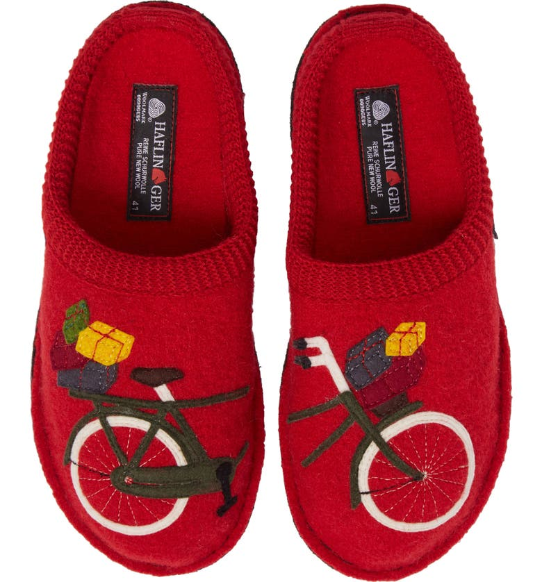 HAFLINGER Bicycle Slipper, Main, color, BICYCLE RED WOOL