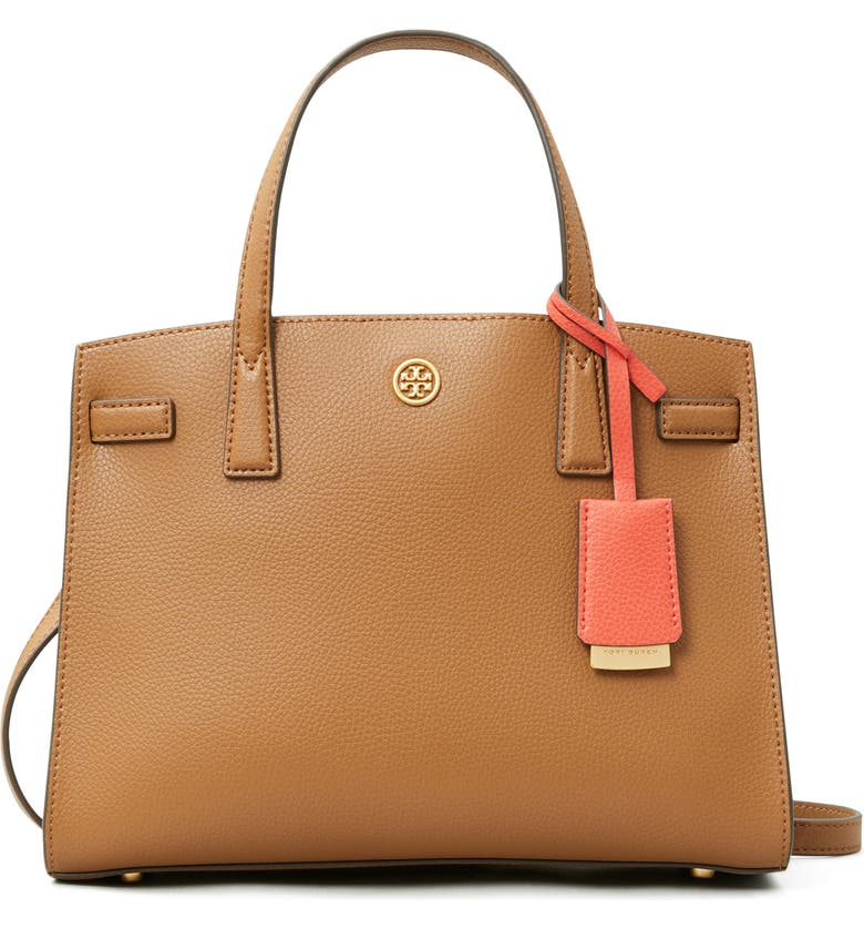 TORY BURCH Small Walker Leather Satchel, Main, color, MOOSE