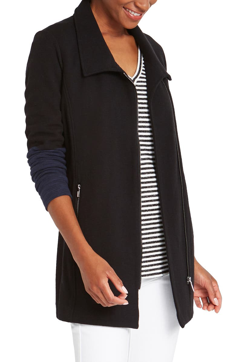 NIC+ZOE Take Charge Front Zip Knit Jacket, Main, color, 004