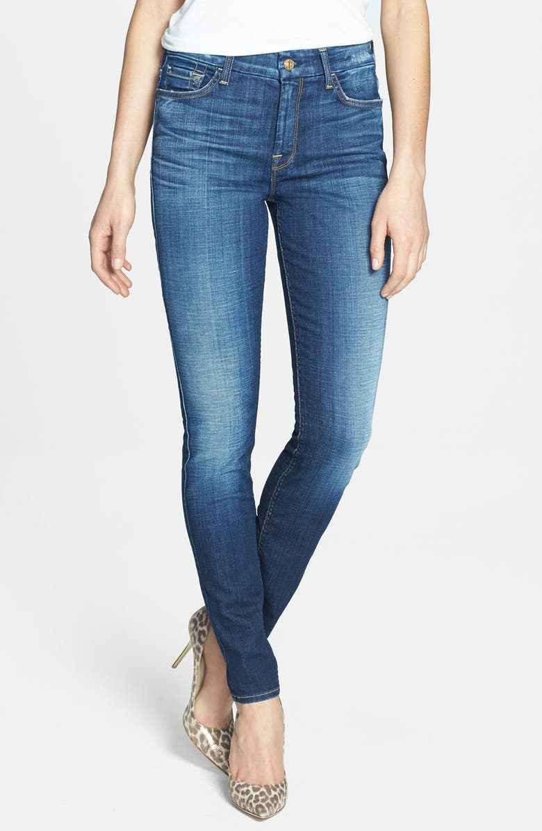 7 FOR ALL MANKIND <sup>®</sup> High Rise Skinny Jeans, Main, color, AGGRESSIVE HERITAGE BLUE