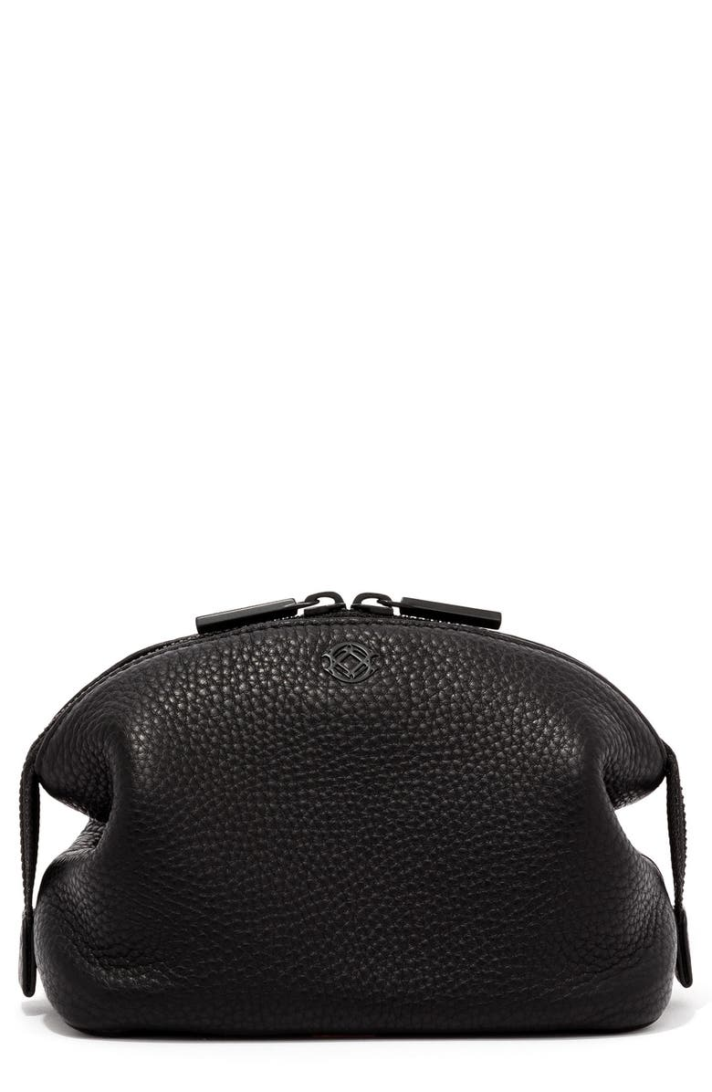 DAGNE DOVER Small Lola Leather Cosmetics Pouch, Main, color, ONYX