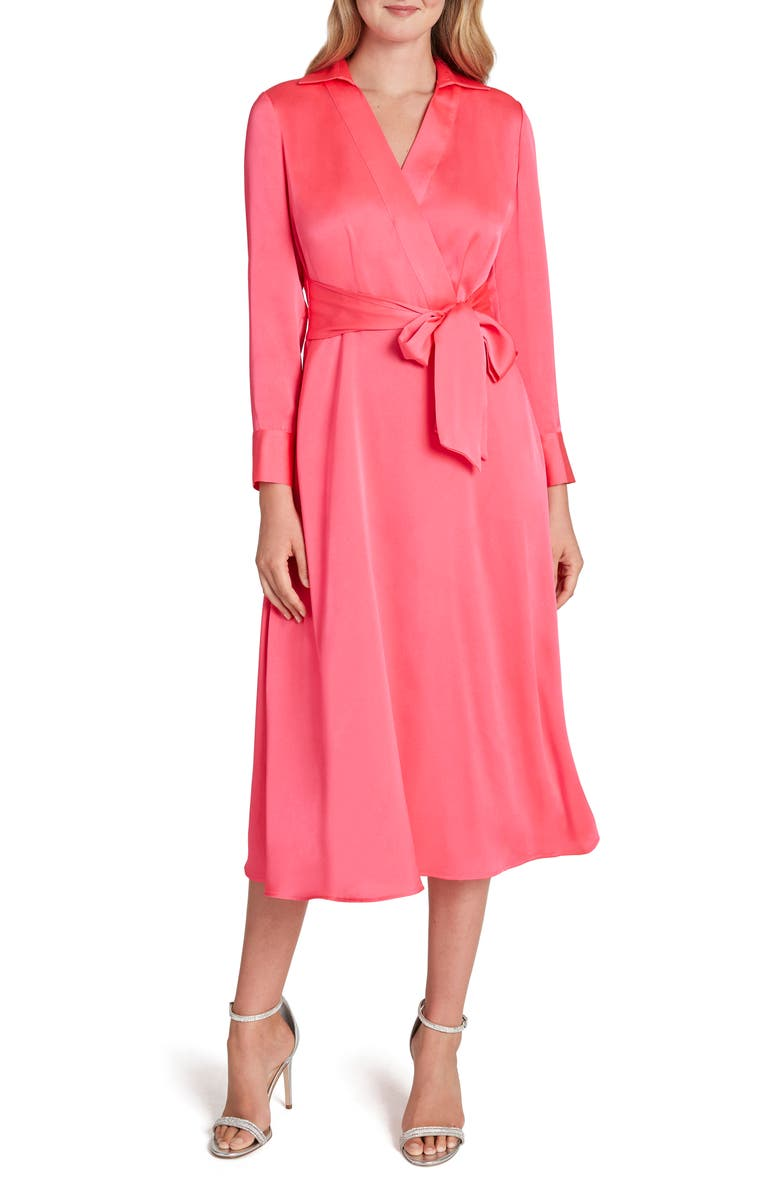 TAHARI Wrap Front Long Sleeve Satin Midi Dress, Main, color, NEON CORAL