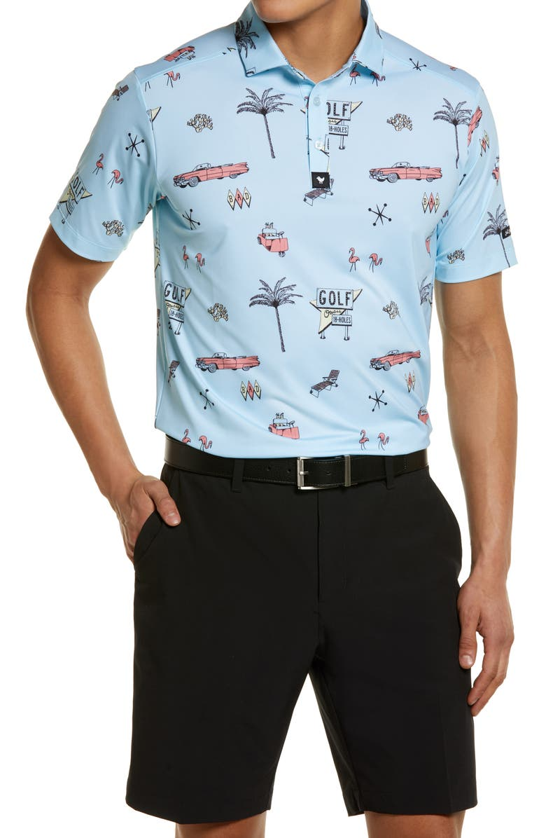 BAD BIRDIE The Drive In Print Short Sleeve Polo, Main, color, BLUE
