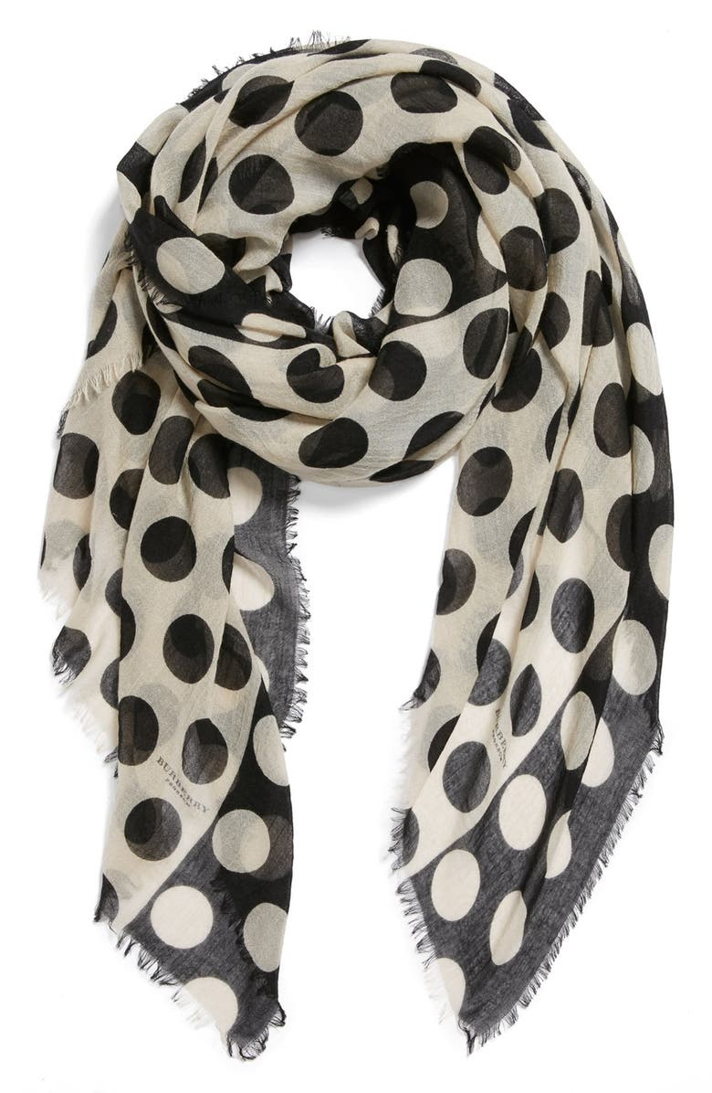 BURBERRY Prorsum Polka Dot Cashmere & Mulberry Silk Scarf, Main, color, 250
