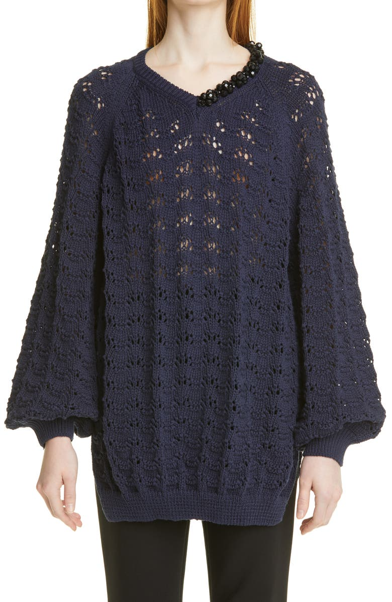 SIMONE ROCHA Embellished Pointelle Stitch Bubble Sweater, Main, color, NAVY/ JET