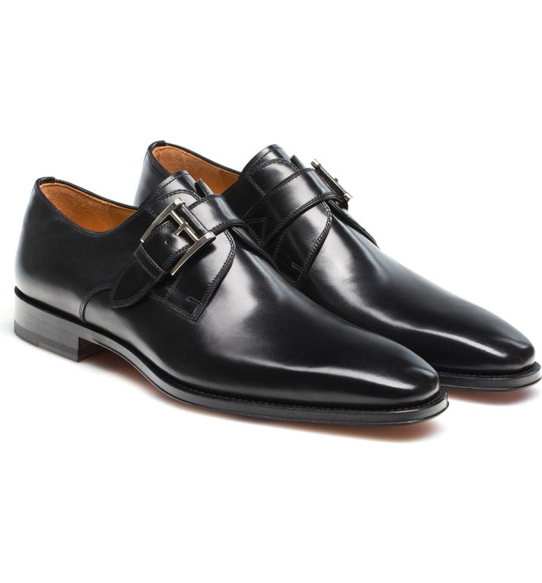 MAGNANNI Marco Plain Toe Monk Shoe, Main, color, BLACK LEATHER