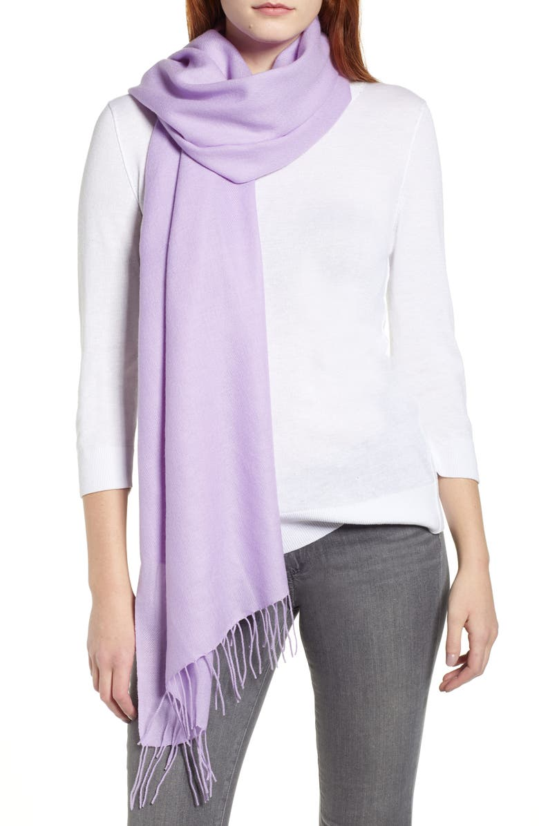 NORDSTROM Tissue Weight Wool &Cashmere Scarf, Main, color, PURPLE BETTA