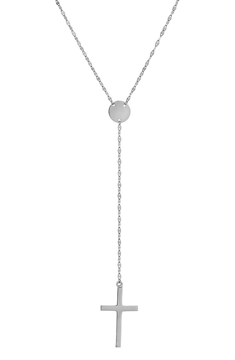 LANA JEWELRY Crossary Y-Necklace, Main, color, WHITE GOLD