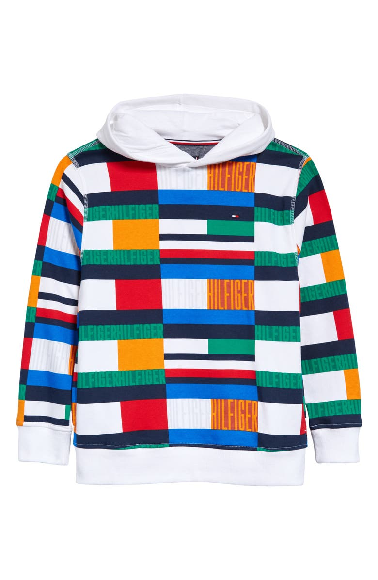 TOMMY HILFIGER Kids' Pattern Pullover Hoodie, Main, color, BRIGHT WHITE