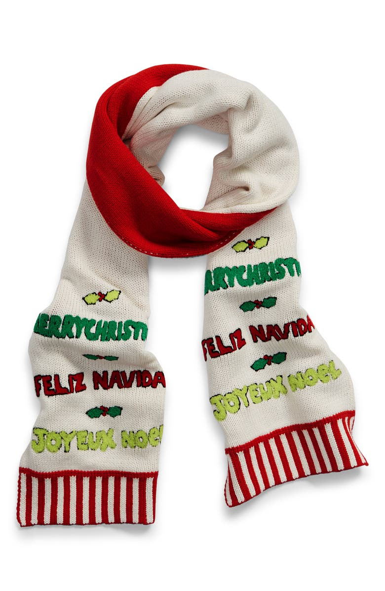 WHOOPI Merry Christmas Cotton Blend Scarf, Main, color, 100