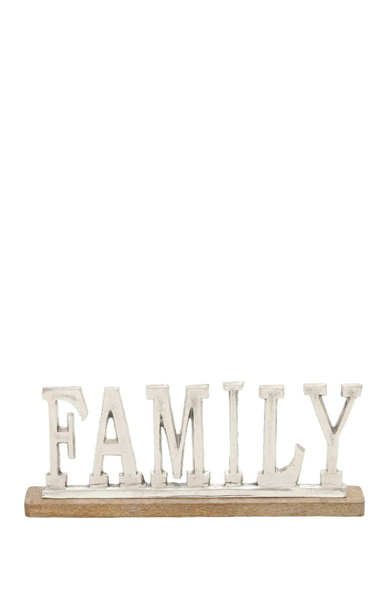 WILLOW ROW Silver/Oak Brown Modern Family Sign, Main, color, SILVER