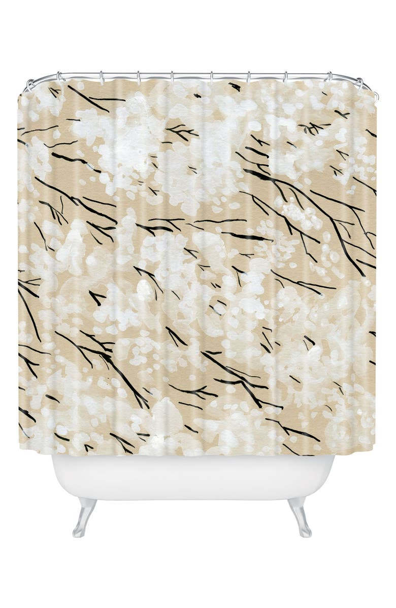 DENY DESIGNS Blossom Shower Curtain, Main, color, BROWN/ WHITE