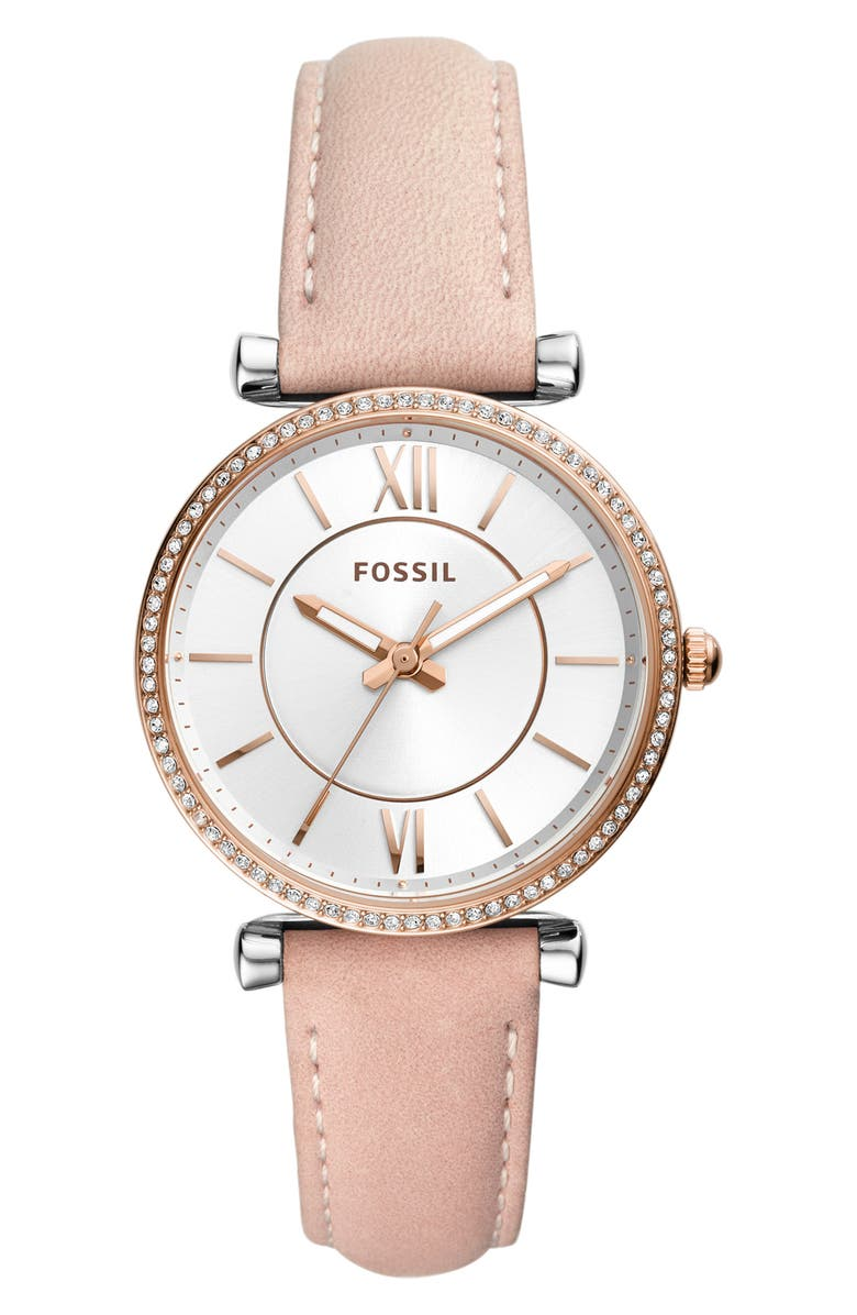 FOSSIL Carlie Leather Strap Watch, 35mm, Main, color, PINK/ SILVER/ ROSE GOLD