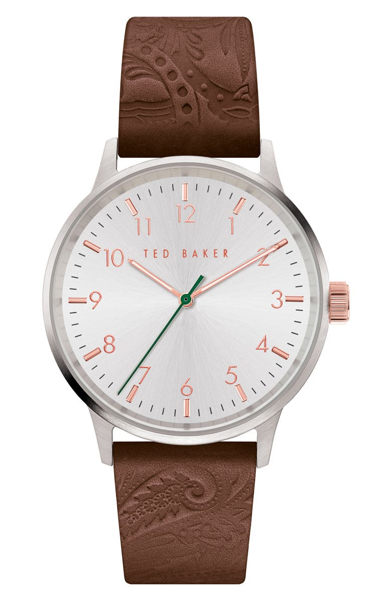 TED BAKER LONDON Cosmop Leather Strap Watch, 40mm, Main, color, BROWN/ WHITE/ SILVER
