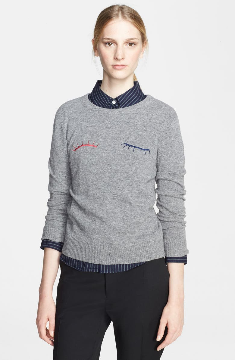BAND OF OUTSIDERS Eyelash Felted Wool Sweater, Main, color, GREY