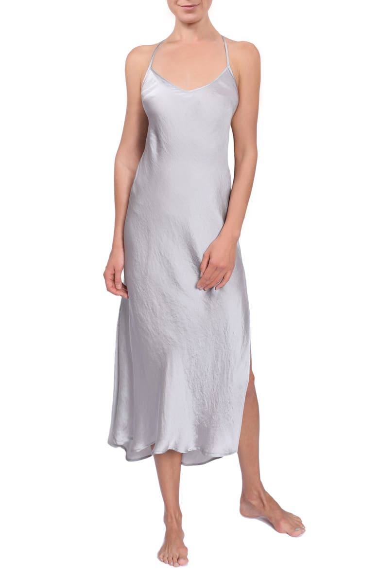EVERYDAY RITUAL Sloan T-Back Slipdress, Main, color, OYSTER GREY