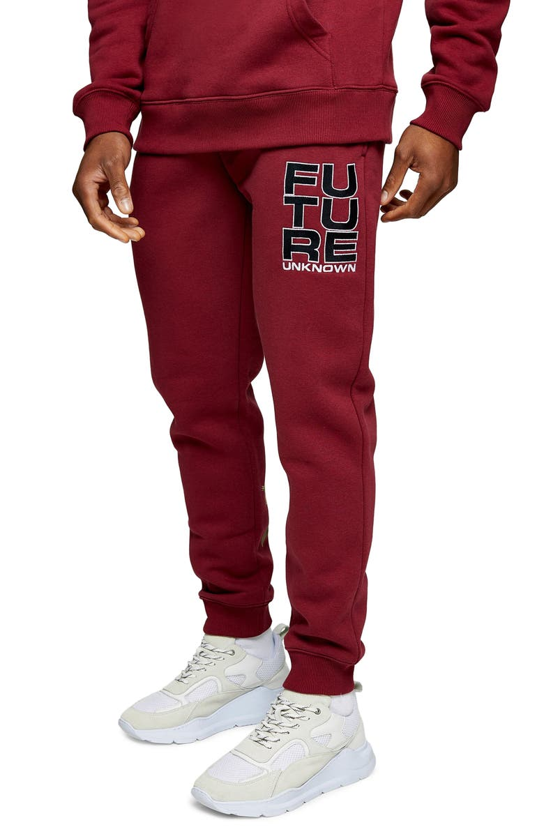 TOPMAN Future Floral Print Joggers, Main, color, RED