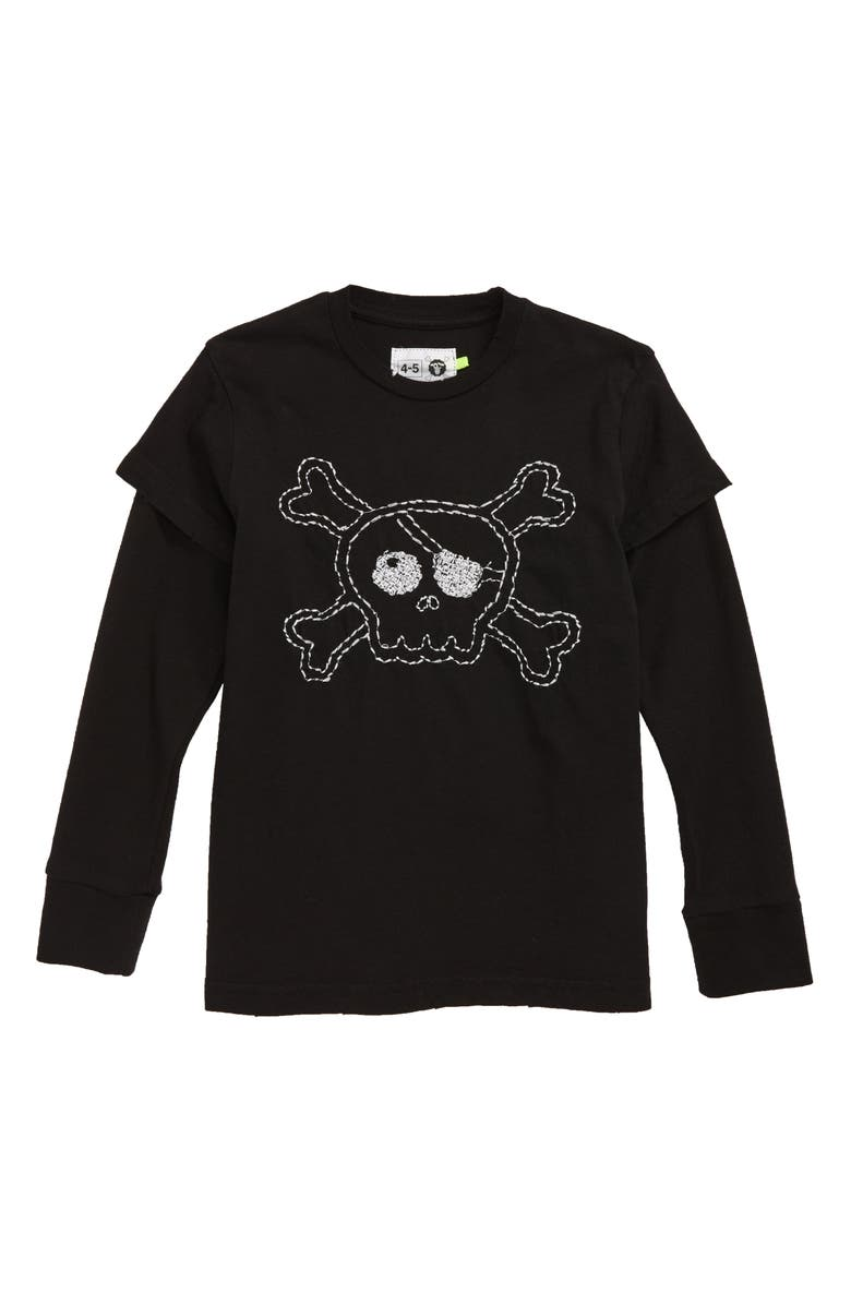 NUNUNU Embroidered Skull T-Shirt, Main, color, 001