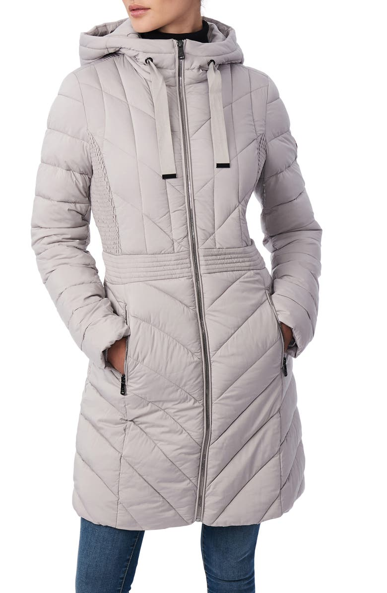BERNARDO Packable Hooded Walker Coat, Main, color, OPAL GREY