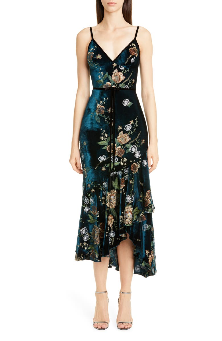 MARCHESA NOTTE Floral Embroidered Velvet High/Low Dress, Main, color, 440