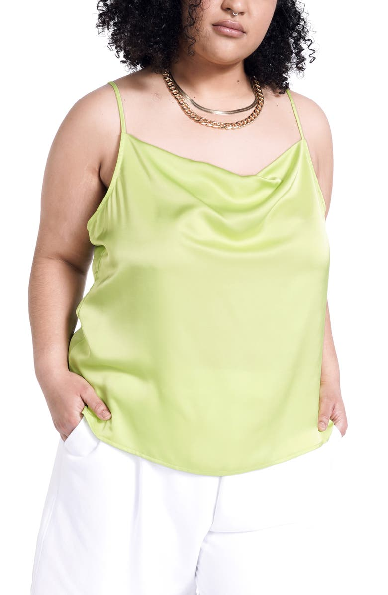 BP. + WILDFANG Satin Camisole, Main, color, NEON GREEN