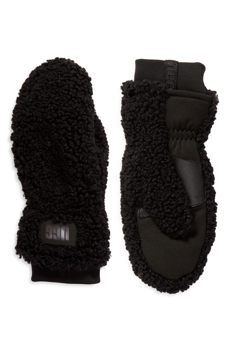 UGG<SUP>®</SUP> Faux Fur Logo Mittens, Main, color, 001
