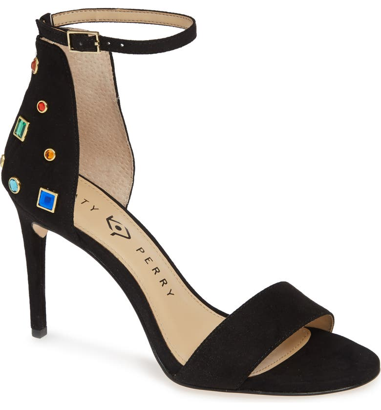 KATY PERRY Jewel Ankle Strap Sandal, Main, color, Black
