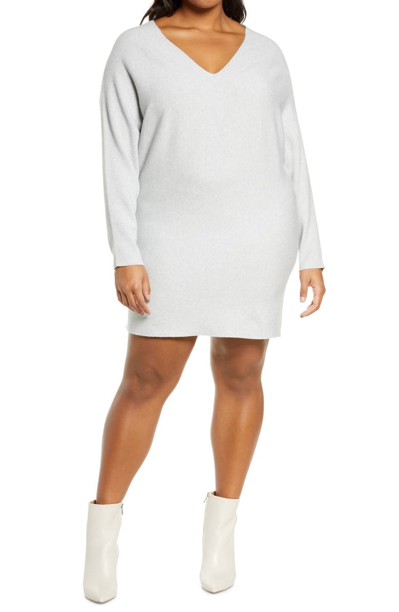 LEITH Long Sleeve V-Neck Sweater Dress, Main, color, GREY LIGHT HEATHER