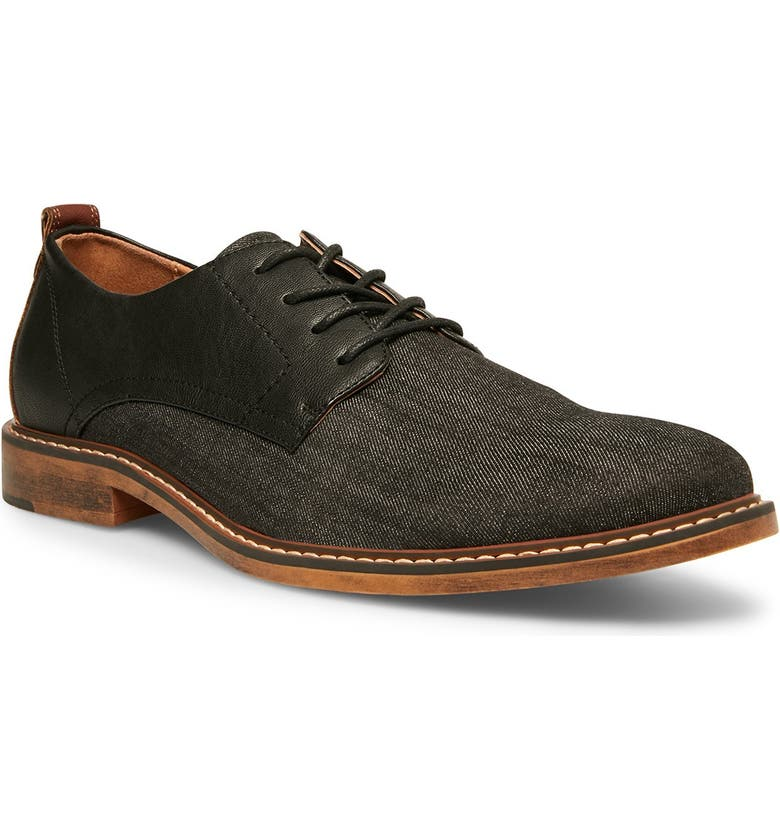 MADDEN Yanton Mixed Panel Lace-Up Derby, Main, color, BLACK