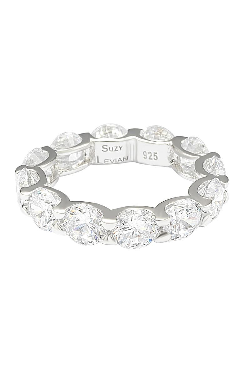 SUZY LEVIAN Sterling Silver CZ Round Cut Eternity Band Ring, Main, color, WHITE
